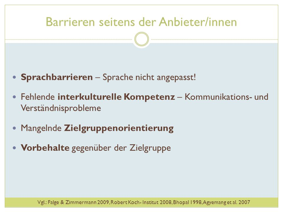 Barrieren seitens der Anbieter/innen