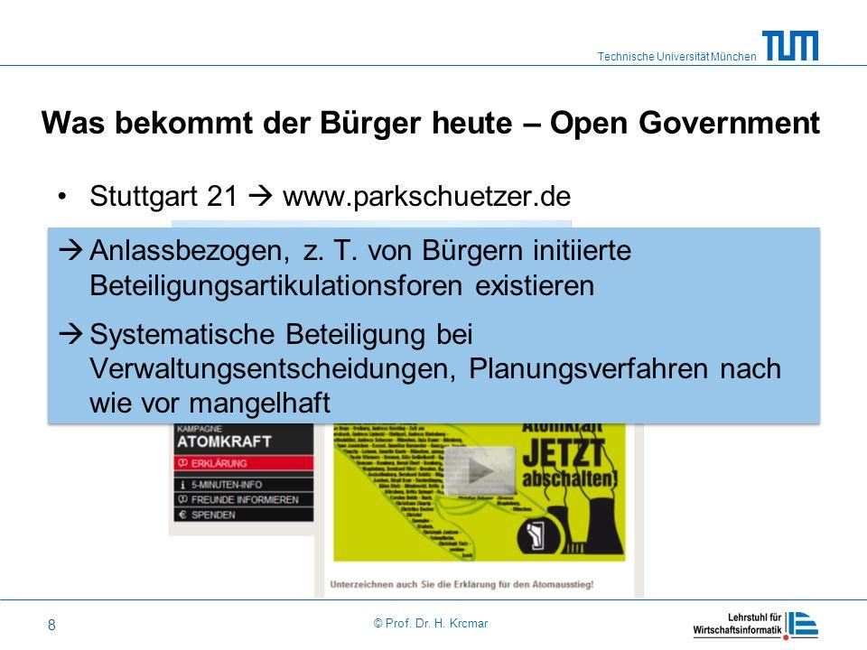 Was bekommt der Bürger heute – Open Government