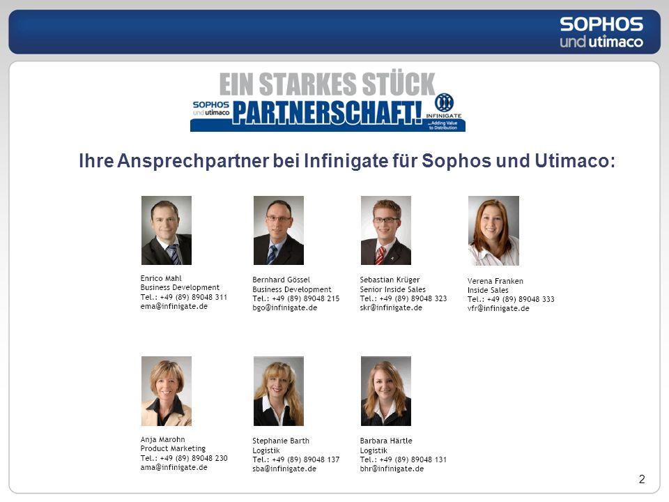 Ihre Ansprechpartner bei Infinigate für Sophos und Utimaco: