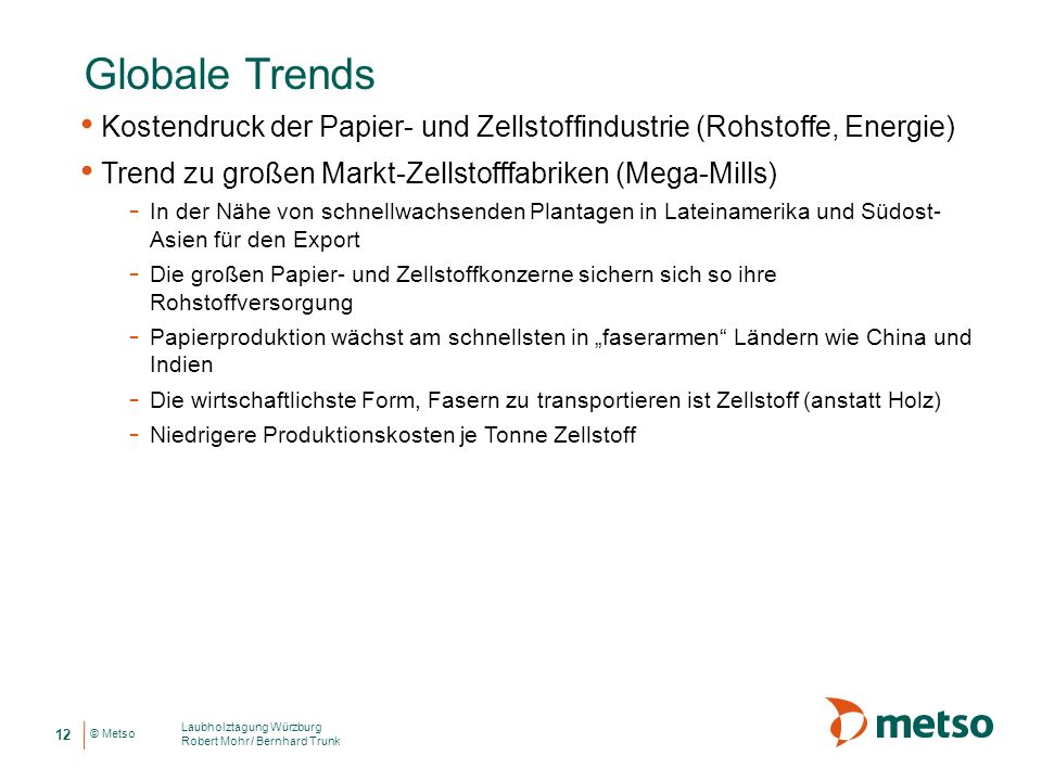 Globale Trends Kostendruck der Papier- und Zellstoffindustrie (Rohstoffe, Energie) Trend zu großen Markt-Zellstofffabriken (Mega-Mills)