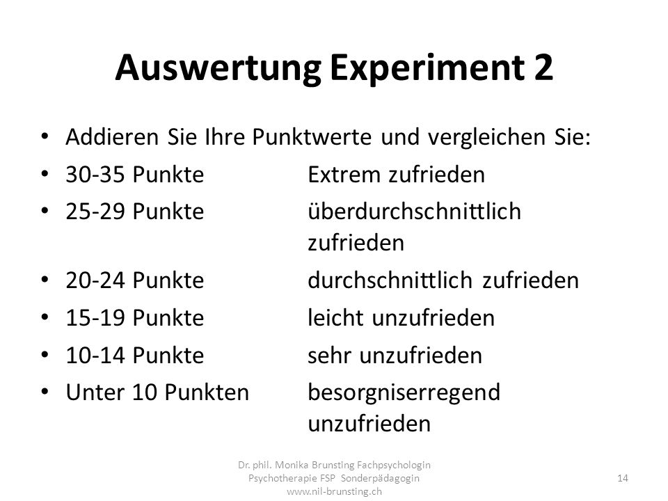 Auswertung Experiment 2
