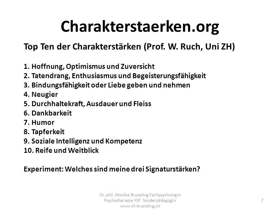 Charakterstaerken.org Top Ten der Charakterstärken (Prof. W. Ruch, Uni ZH) 1. Hoffnung, Optimismus und Zuversicht.