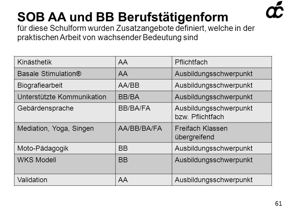 SOB AA und BB Berufstätigenform für diese Schulform wurden Zusatzangebote definiert, welche in der praktischen Arbeit von wachsender Bedeutung sind