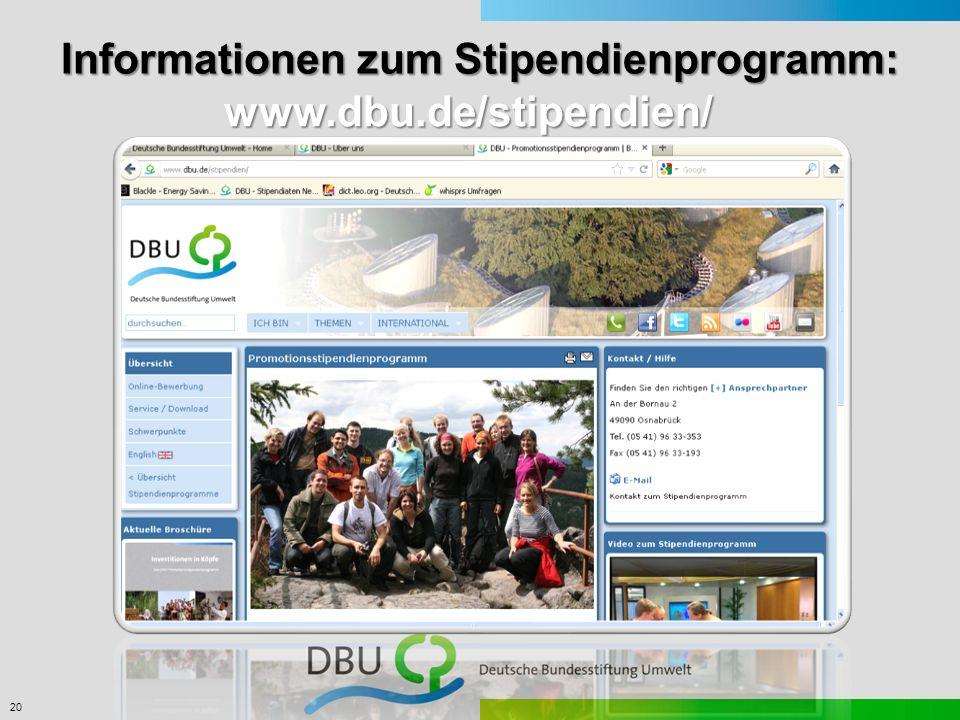 Informationen zum Stipendienprogramm: