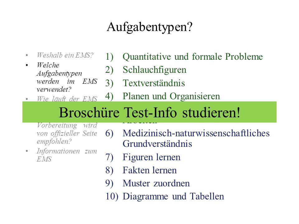 Broschüre Test-Info studieren!