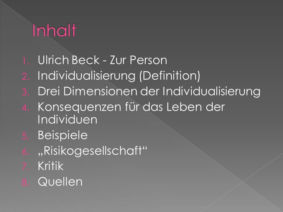 Inhalt Ulrich Beck - Zur Person Individualisierung (Definition)