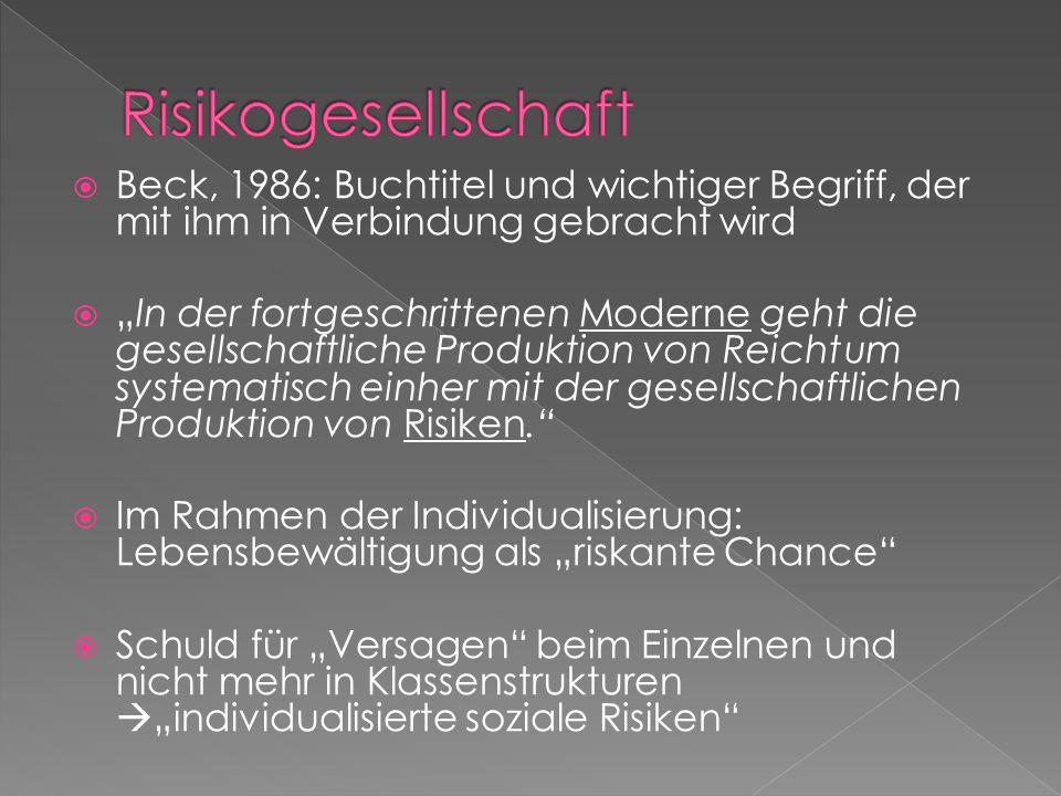 Risikogesellschaft Beck, 1986: Buchtitel und wichtiger Begriff, der mit ihm in Verbindung gebracht wird.