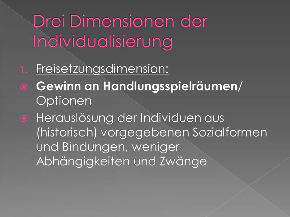 Drei Dimensionen der Individualisierung