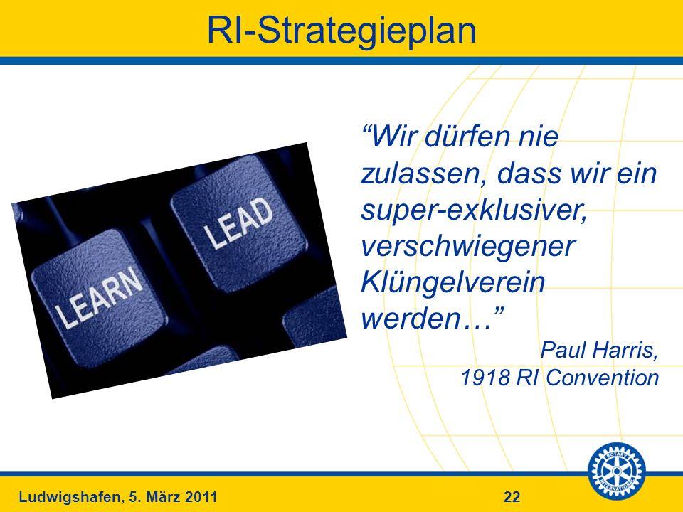 RI-Strategieplan Wir dürfen nie zulassen, dass wir ein super-exklusiver, verschwiegener Klüngelverein werden…