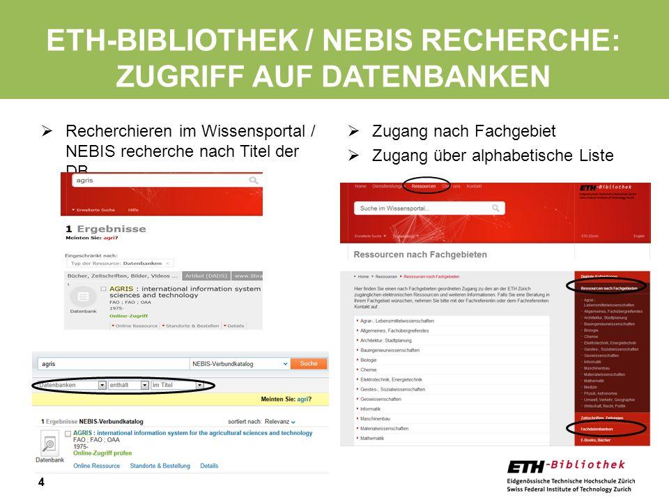Eth-bibliothek / NEBIS recherche: Zugriff auf datenbanken