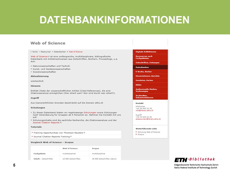 Datenbankinformationen