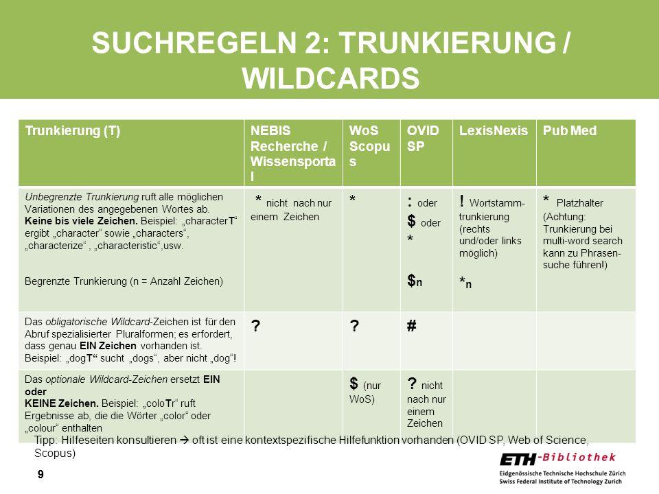Suchregeln 2: Trunkierung / Wildcards