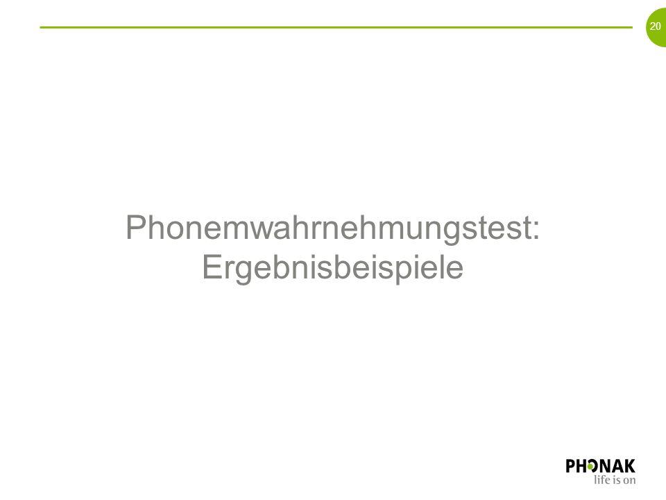 Phonemwahrnehmungstest: Ergebnisbeispiele