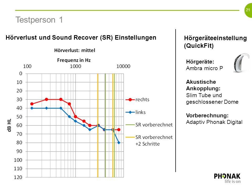 Testperson 1 Hörverlust und Sound Recover (SR) Einstellungen