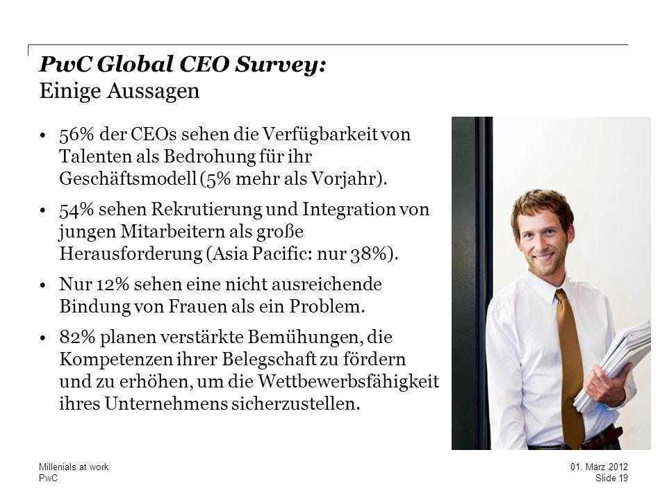 PwC Global CEO Survey: Einige Aussagen