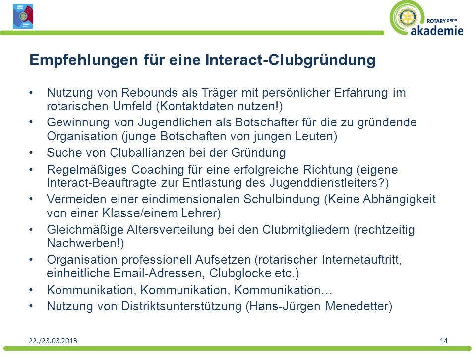 Empfehlungen für eine Interact-Clubgründung