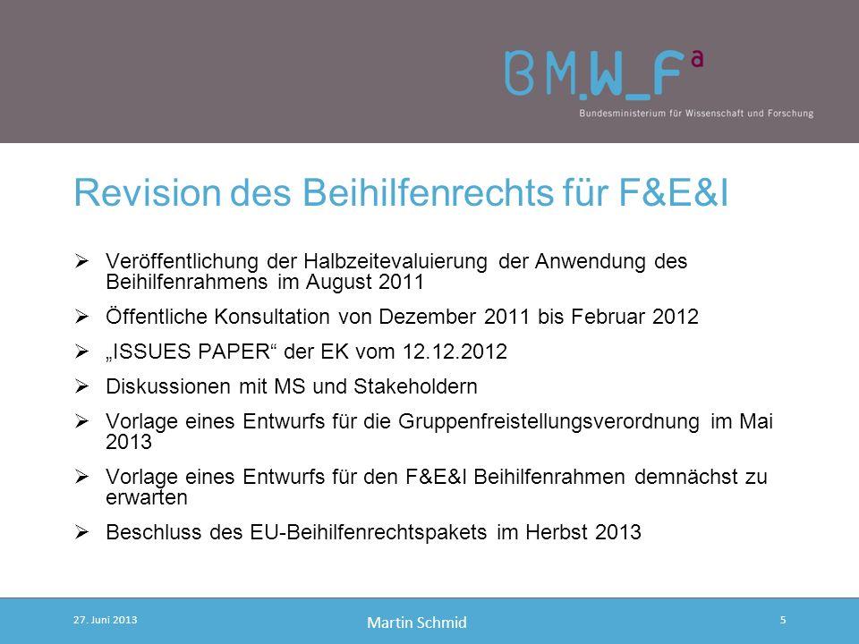 Revision des Beihilfenrechts für F&E&I