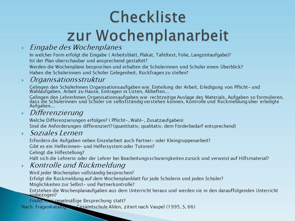 Checkliste zur Wochenplanarbeit