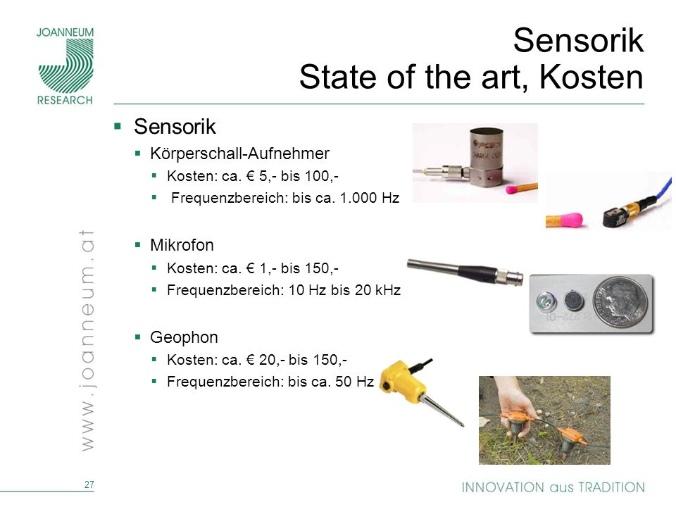 Sensorik State of the art, Kosten