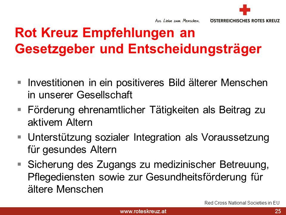 Rot Kreuz Empfehlungen an Gesetzgeber und Entscheidungsträger