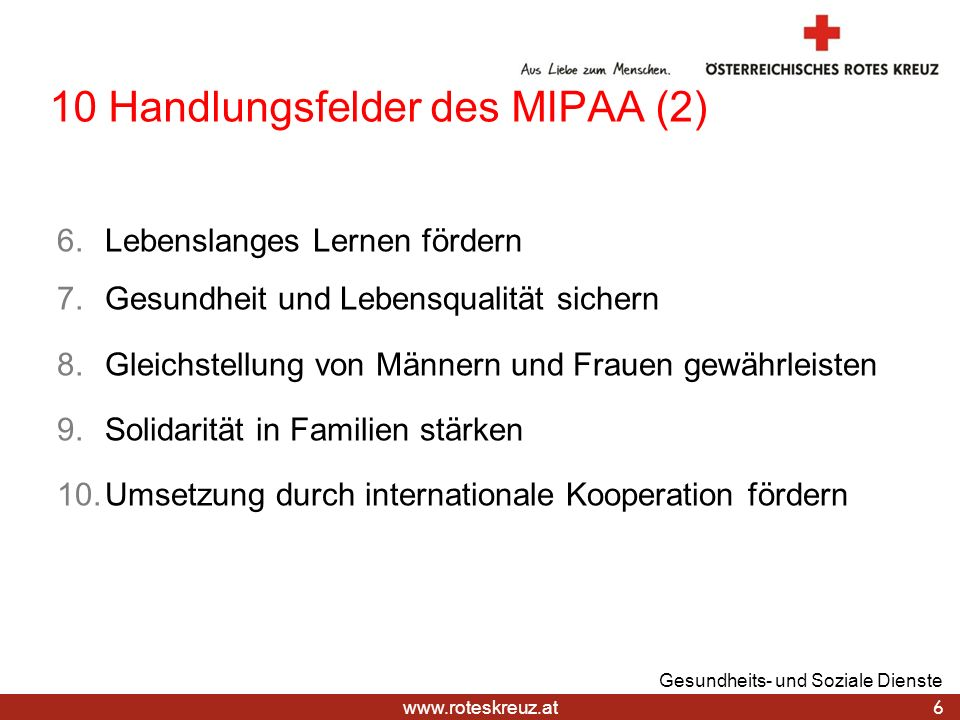 10 Handlungsfelder des MIPAA (2)