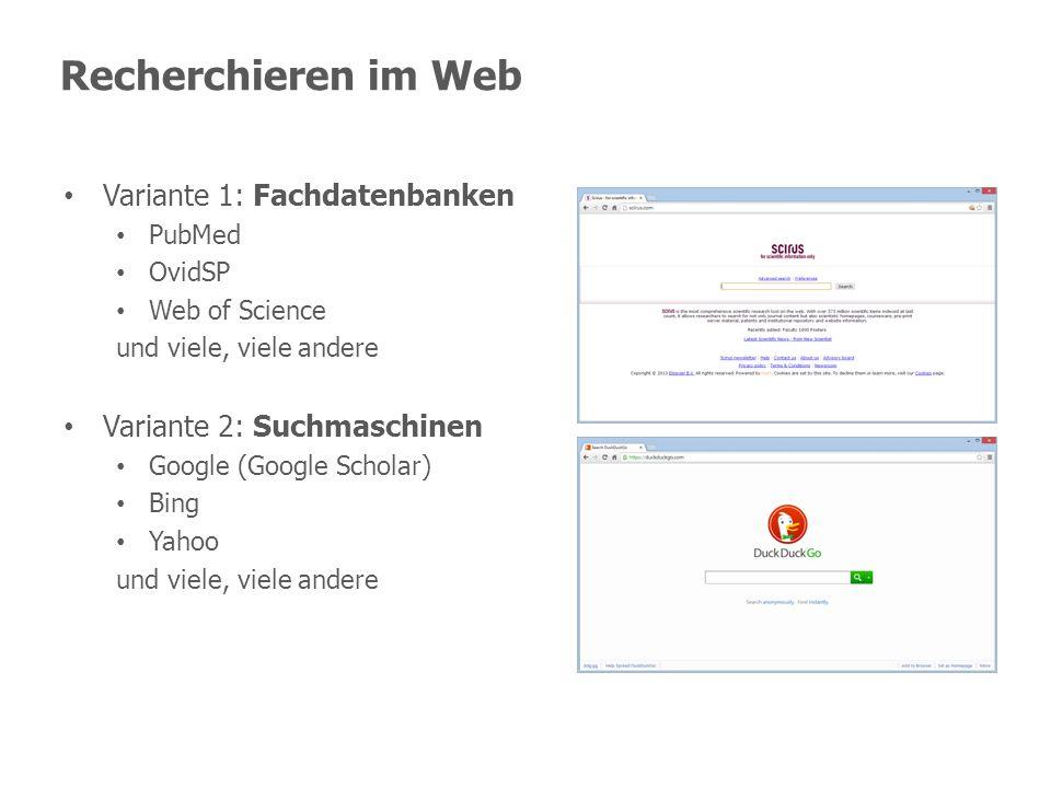 Recherchieren im Web Variante 1: Fachdatenbanken