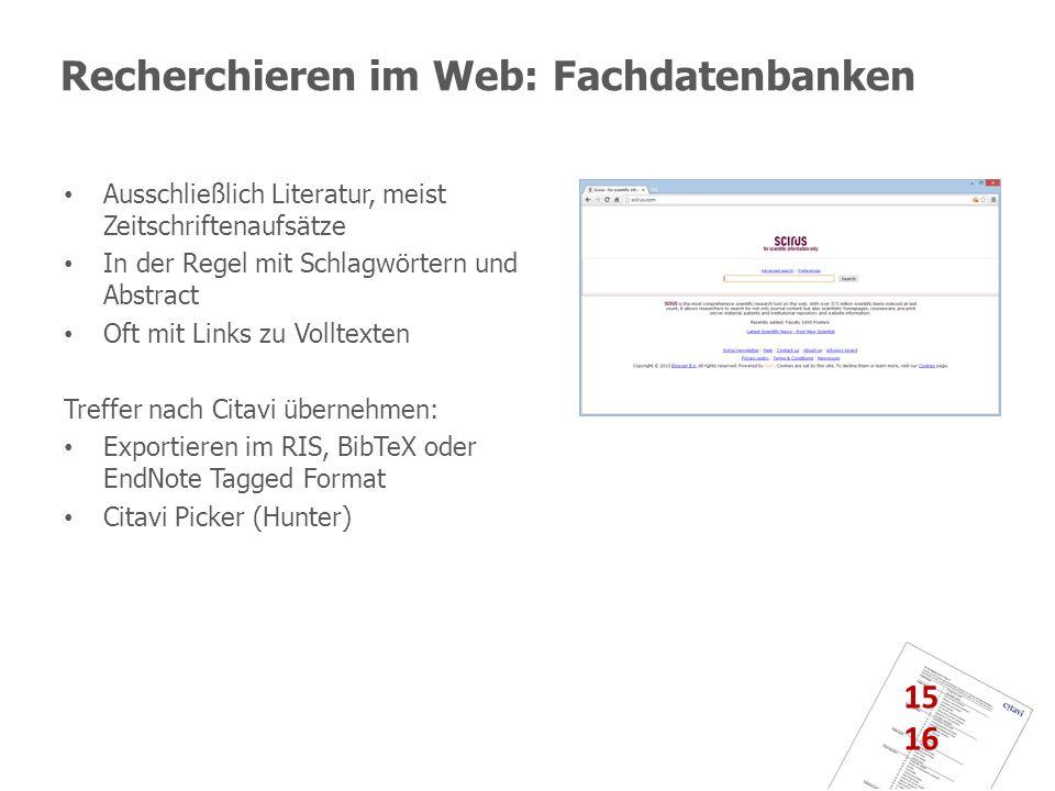 Recherchieren im Web: Fachdatenbanken