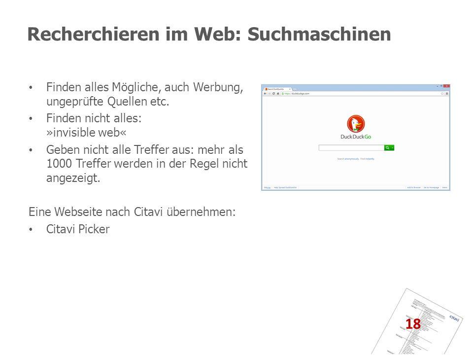 Recherchieren im Web: Suchmaschinen