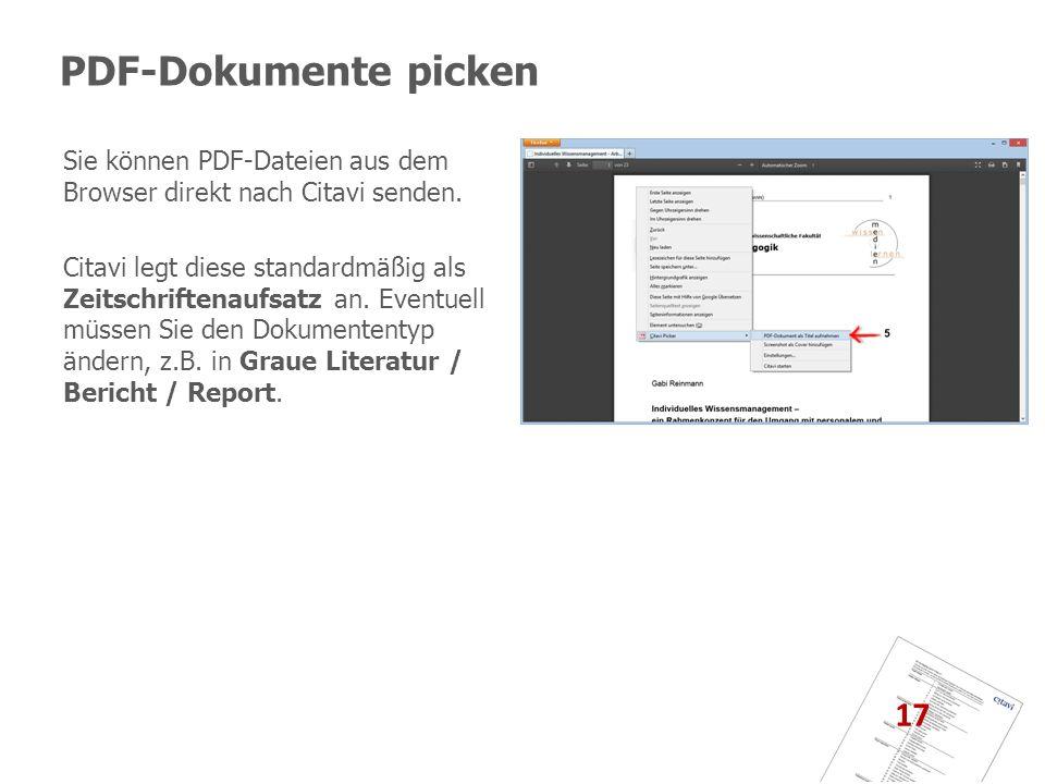 PDF-Dokumente picken Sie können PDF-Dateien aus dem Browser direkt nach Citavi senden.