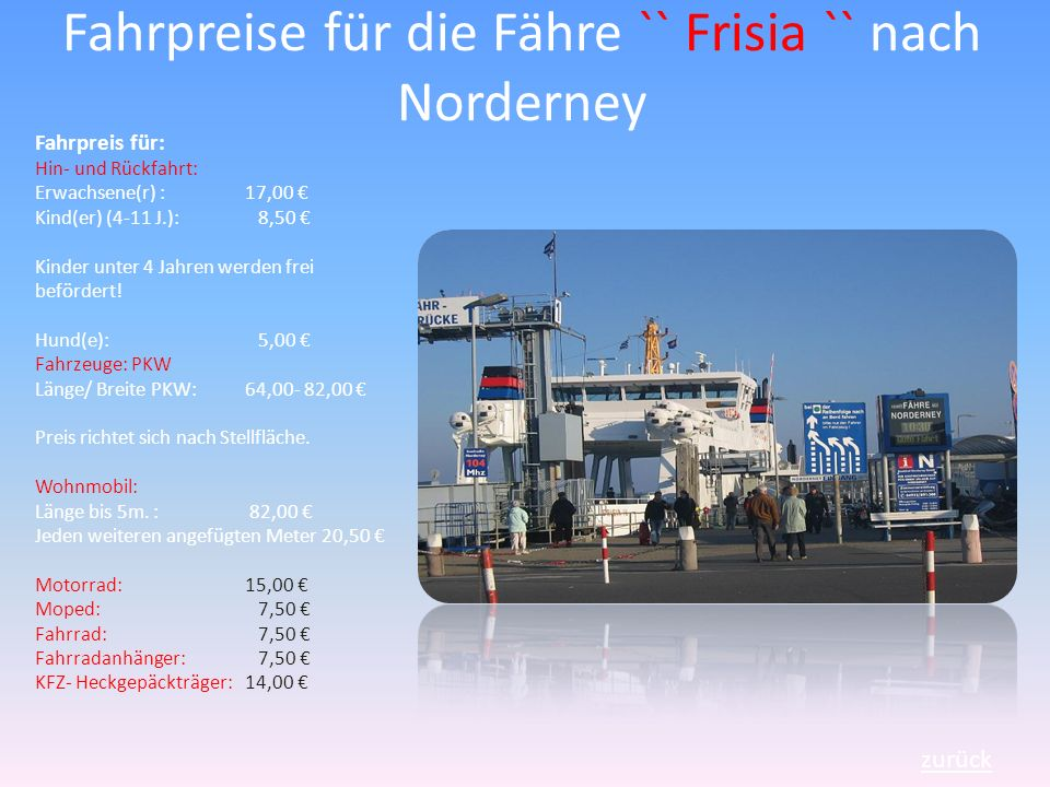 Fahrpreise für die Fähre `` Frisia `` nach Norderney