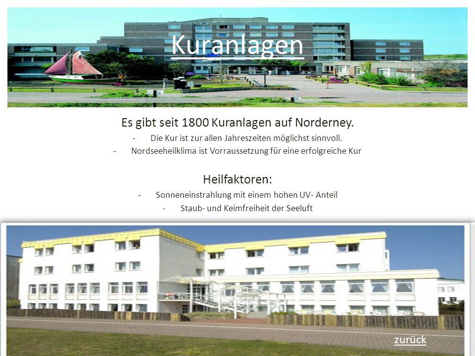 Kuranlagen Es gibt seit 1800 Kuranlagen auf Norderney. Heilfaktoren: