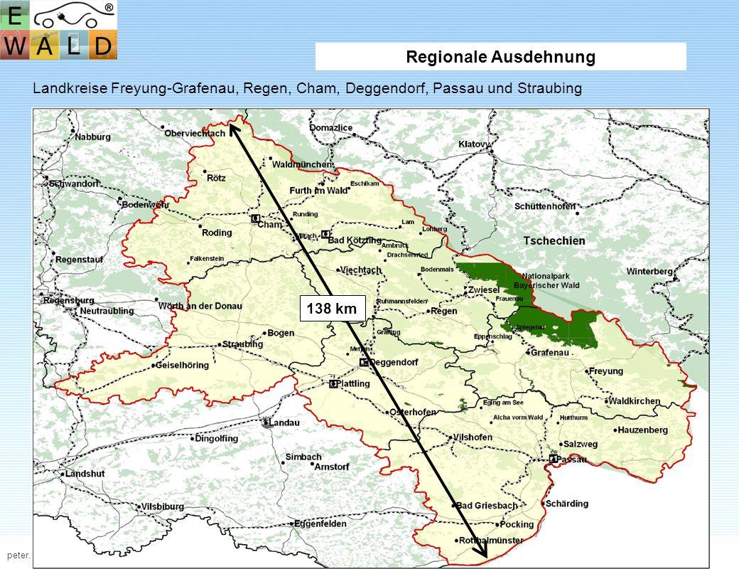 Regionale Ausdehnung Landkreise Freyung-Grafenau, Regen, Cham, Deggendorf, Passau und Straubing.
