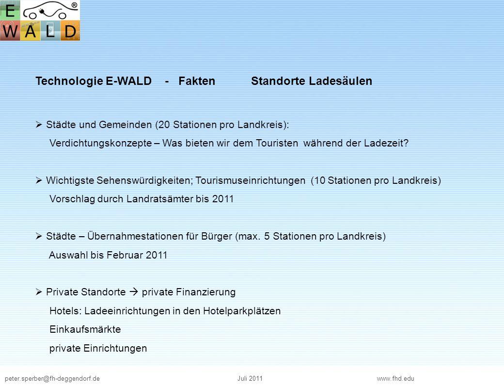 Technologie E-WALD - Fakten Standorte Ladesäulen