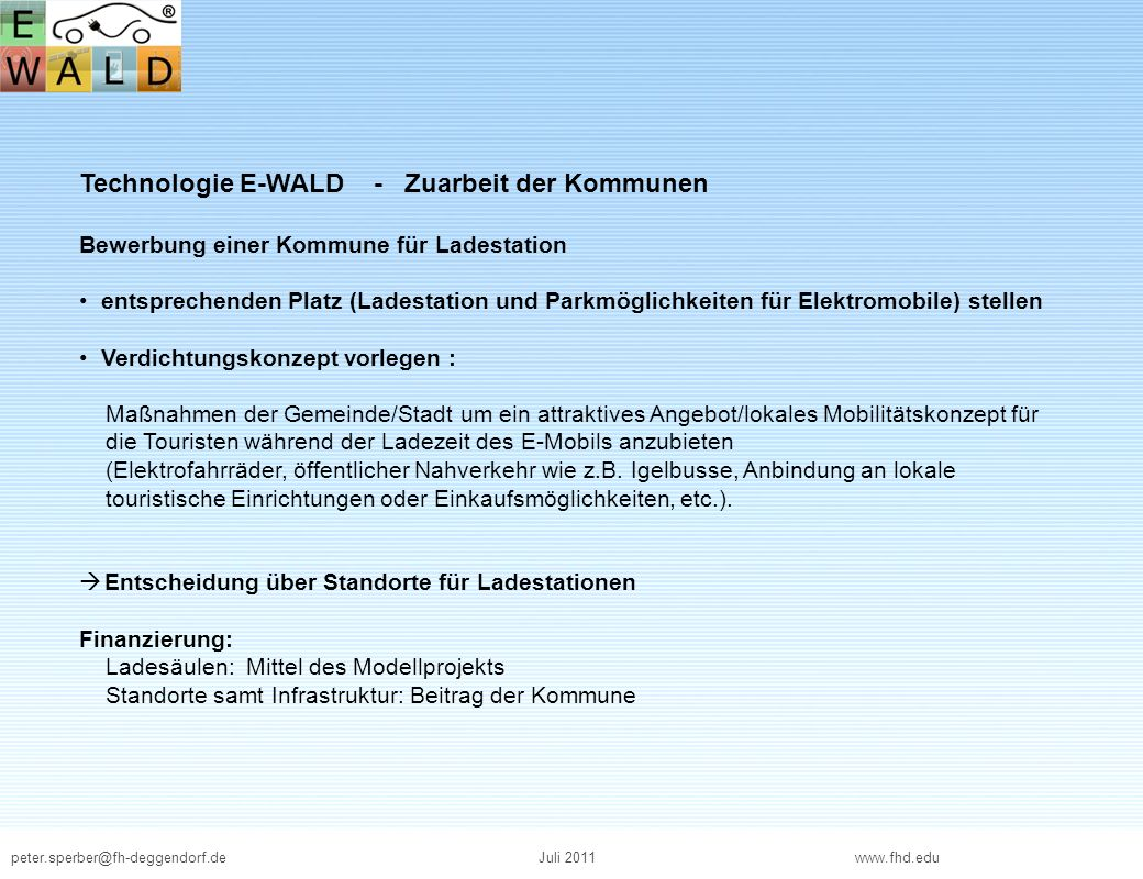 Technologie E-WALD - Zuarbeit der Kommunen