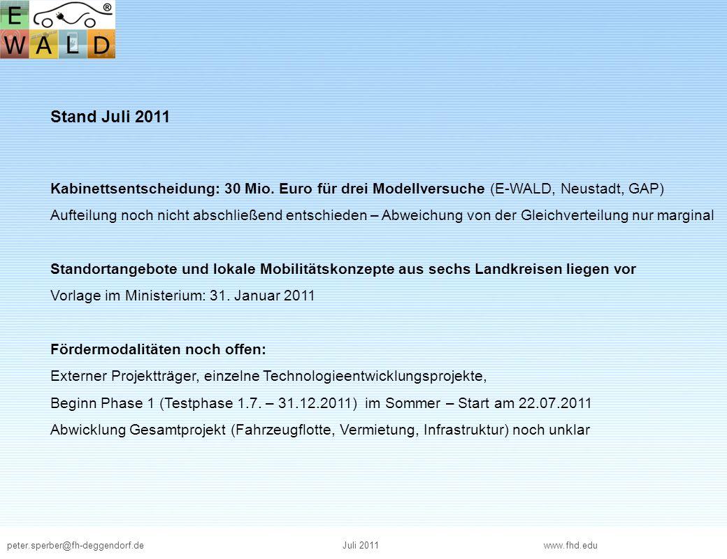 Stand Juli 2011 Kabinettsentscheidung: 30 Mio. Euro für drei Modellversuche (E-WALD, Neustadt, GAP)