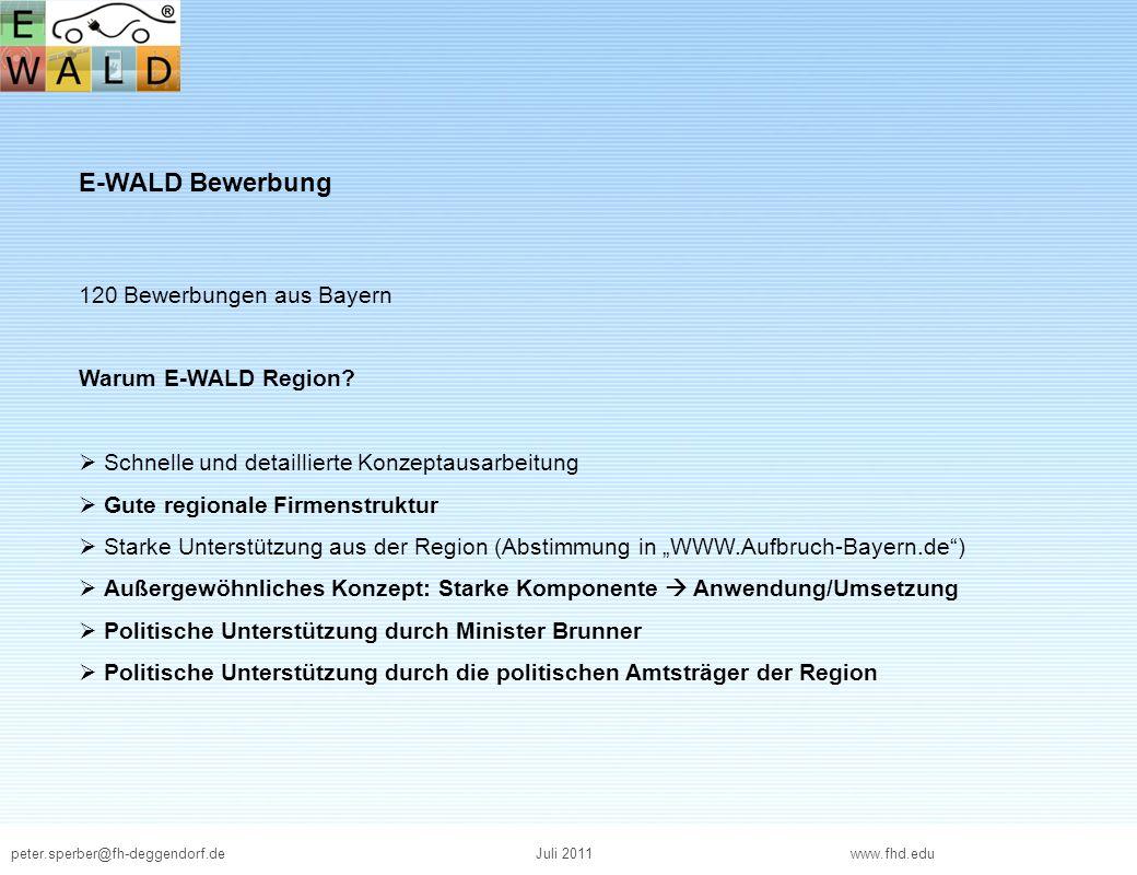 E-WALD Bewerbung 120 Bewerbungen aus Bayern Warum E-WALD Region