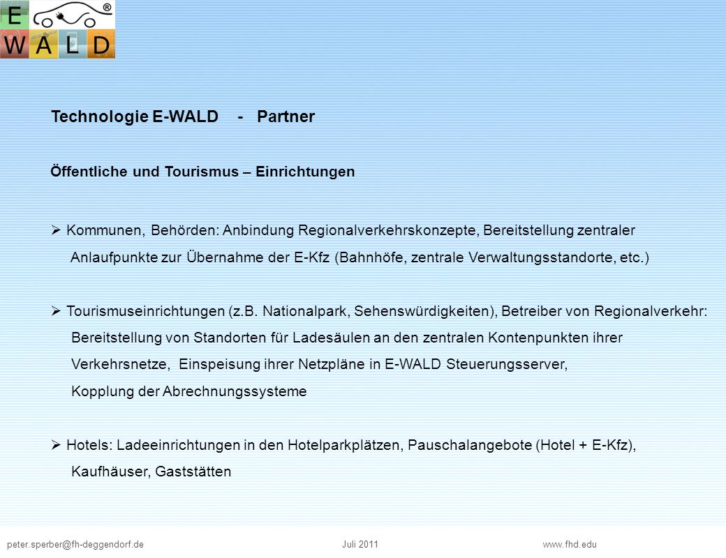 Technologie E-WALD - Partner