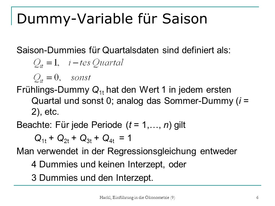 Dummy-Variable für Saison
