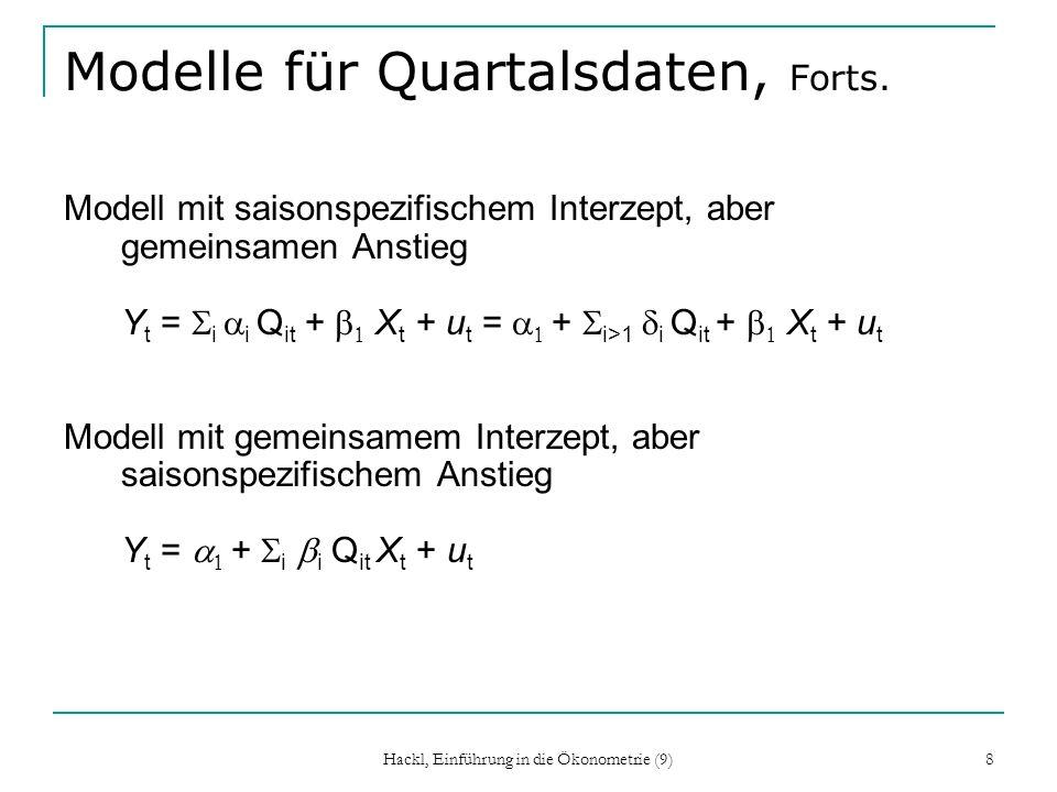 Modelle für Quartalsdaten, Forts.