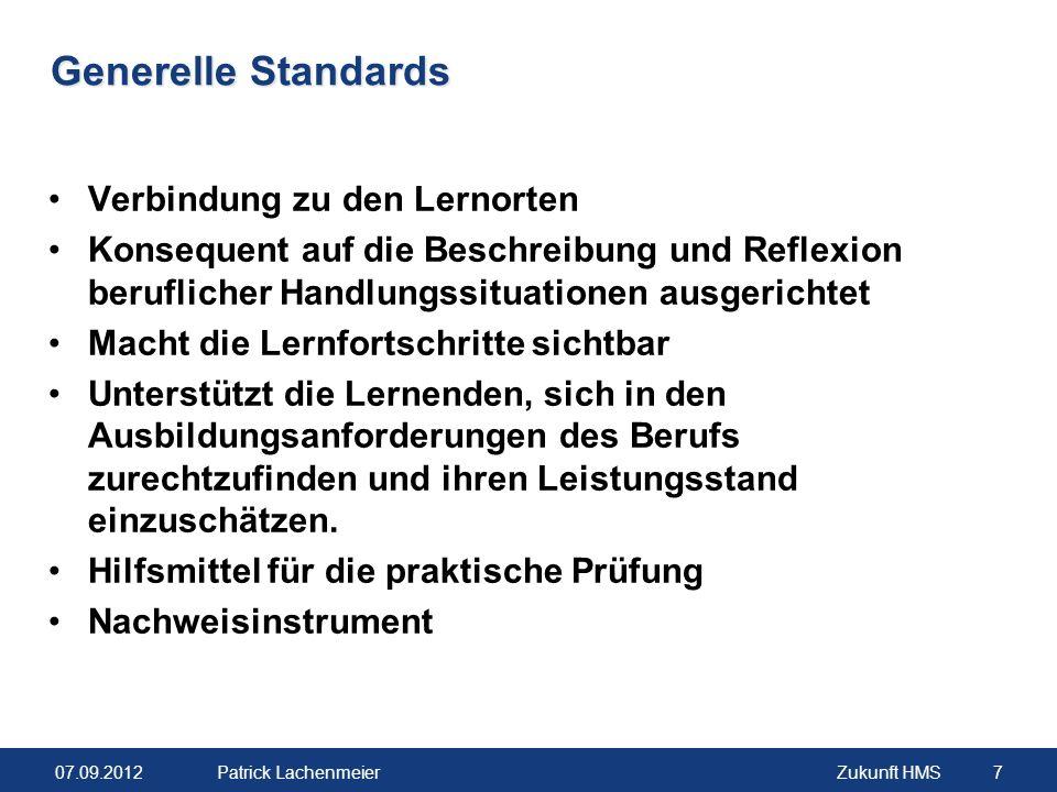 Generelle Standards Verbindung zu den Lernorten