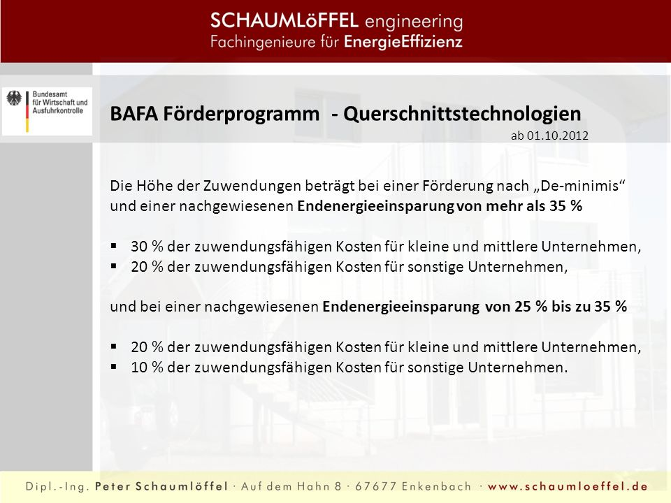 BAFA Förderprogramm - Querschnittstechnologien