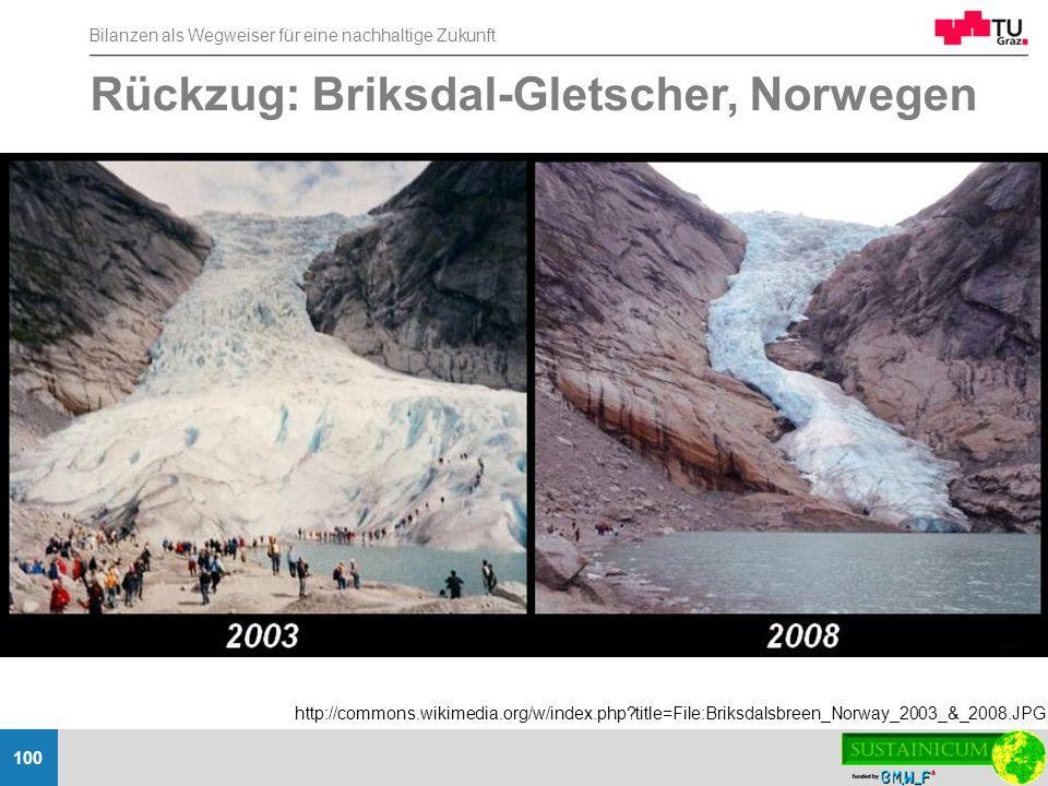Rückzug: Briksdal-Gletscher, Norwegen