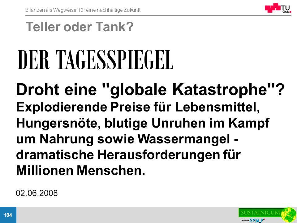 DER TAGESSPIEGEL Droht eine globale Katastrophe Teller oder Tank