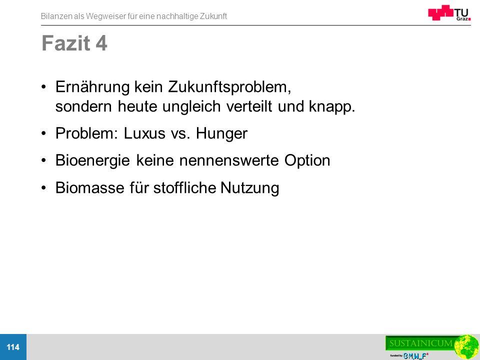 Fazit 4 Ernährung kein Zukunftsproblem, sondern heute ungleich verteilt und knapp. Problem: Luxus vs. Hunger.