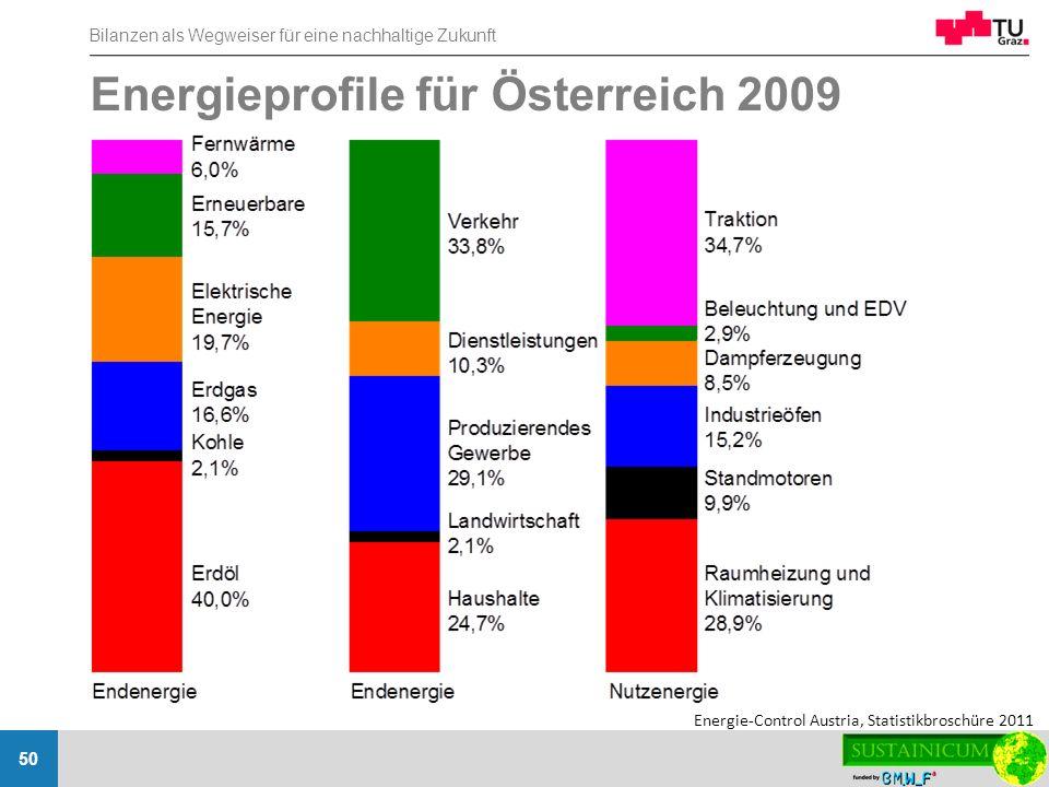 Energieprofile für Österreich 2009