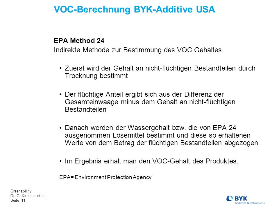 VOC-Berechnung BYK-Additive USA