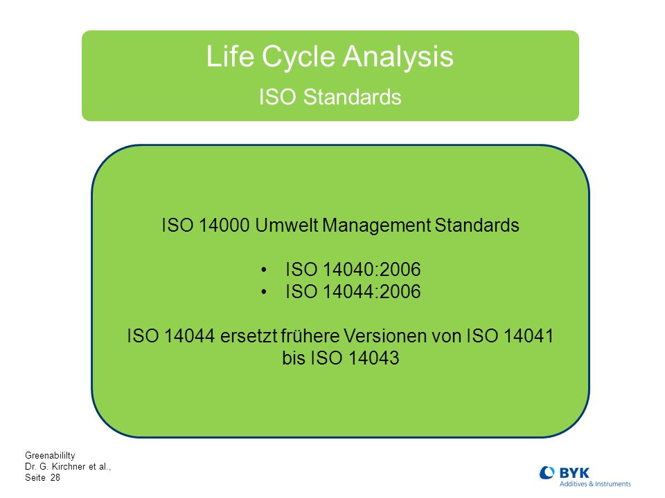 Life Cycle Analysis ISO Standards