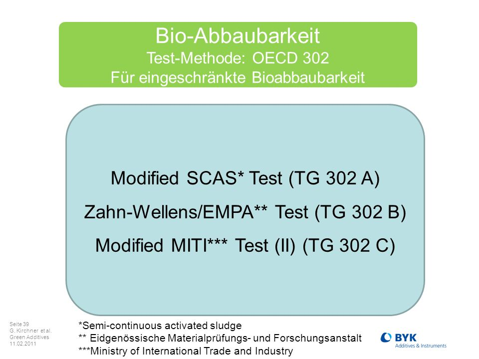 Bio-Abbaubarkeit Modified SCAS* Test (TG 302 A)