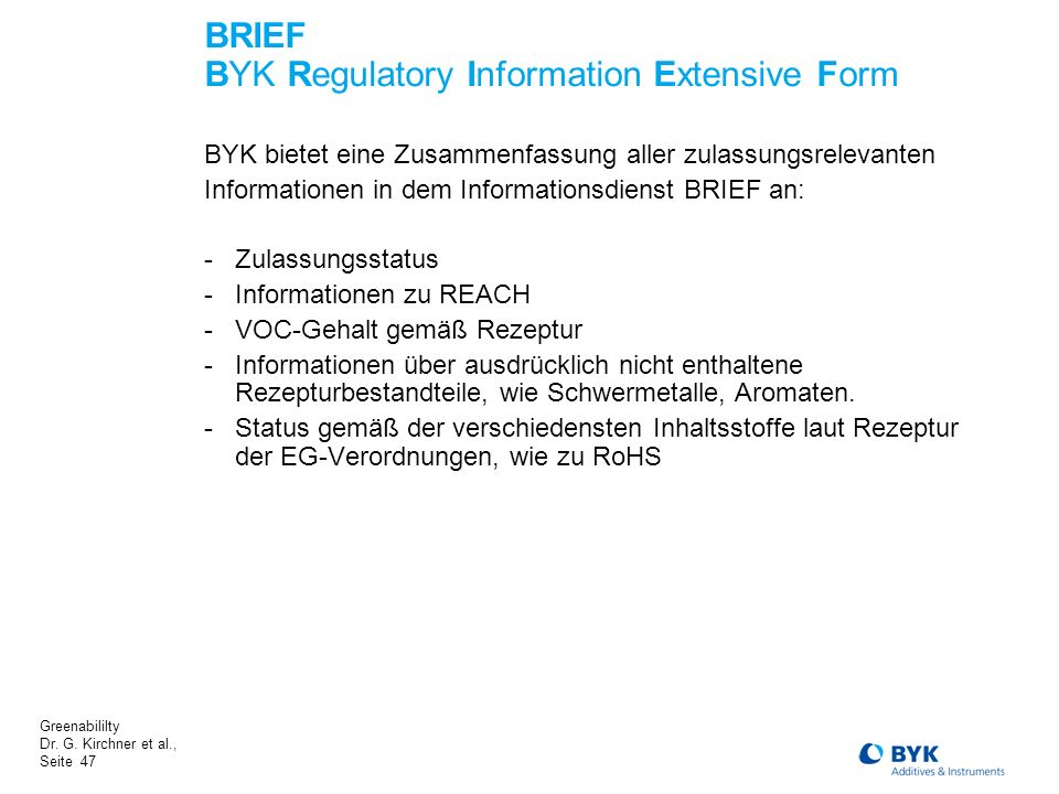 BRIEF BYK Regulatory Information Extensive Form