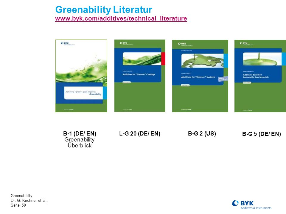 Greenability Literatur www.byk.com/additives/technical_literature
